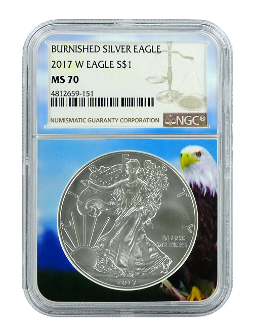 2017 W Burnished Silver Eagle NGC MS70 - Brown Label - Eagle Core
