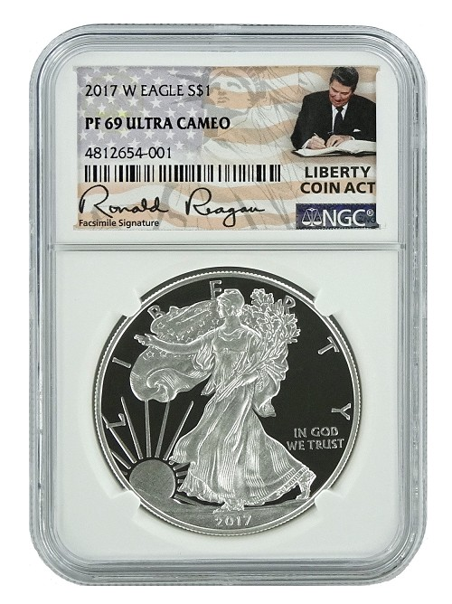 2017 W 1oz Silver Eagle Proof NGC PF69 Ultra Cameo - Liberty Coin Act Label