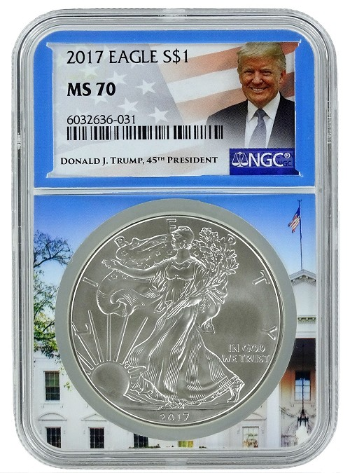 2017 1oz Silver American Eagle NGC MS70 - White House Core - Trump Label
