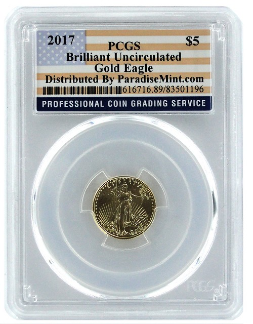 2017 $5 American 1/10th Gold Eagle PCGS Brilliant Uncirculated - Flag Label