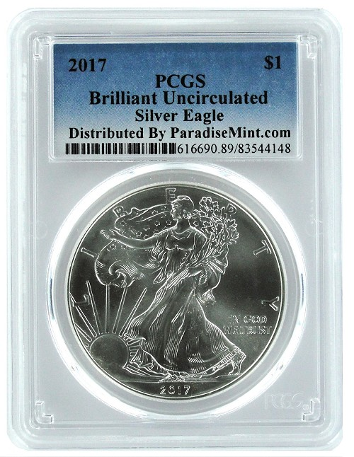 2017 1oz SILVER EAGLE PCGS Brilliant Uncirculated - Blue Label