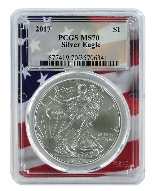 2017 1oz Silver Eagle PCGS MS70 - Flag Frame