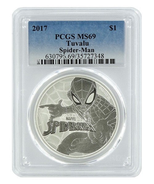 2017 Tuvalu Spider-man 1oz Silver Coin PCGS MS69 - Blue Label