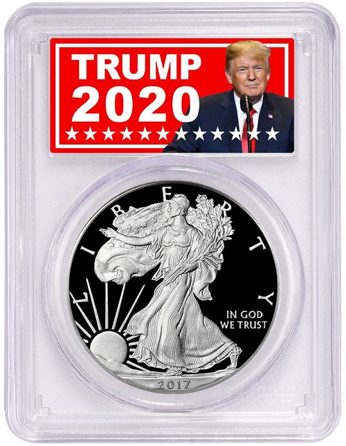 2017 W Proof Silver Eagle PCGS PR70 DCAM Trump Label Special 2020 Issue