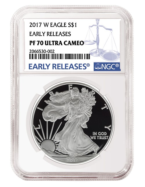 2017 W 1oz Silver Eagle Proof NGC PF70 Ultra Cameo - Early Releases - Blue Label