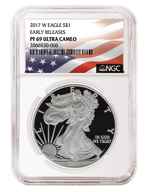 2017 W 1oz Silver Eagle Proof NGC PF69 Ultra Cameo - Early Releases - Flag Label