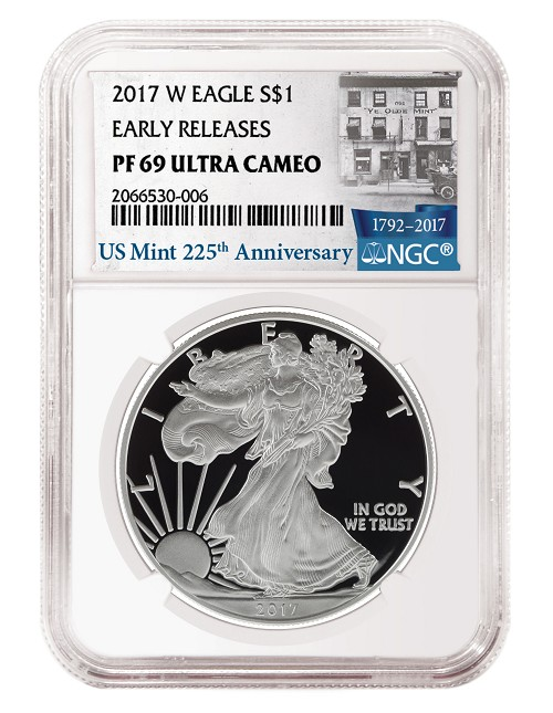 2017 W 1oz Silver Eagle Proof NGC PF69 Ultra Cameo - Early Releases - 225th Anniversary