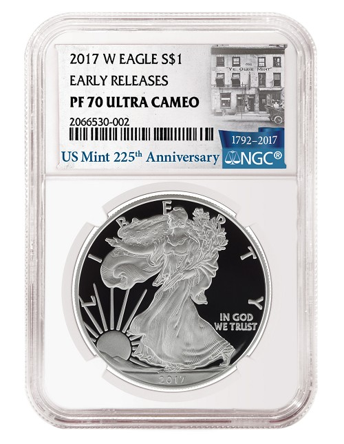 2017 W 1oz Silver Eagle Proof NGC PF70 Ultra Cameo - Early Releases - 225th Anniversary