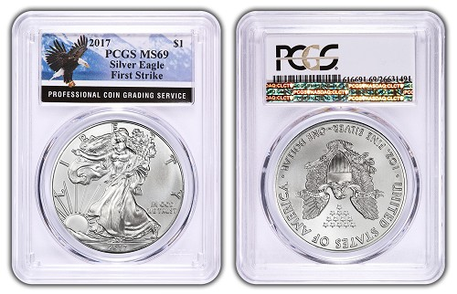 2017 1oz Silver Eagle PCGS MS69 - First Strike - Eagle Label