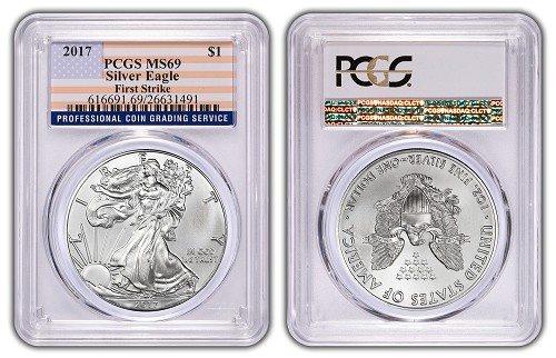 2017 1oz Silver Eagle PCGS MS69 - First Strike - Flag Label