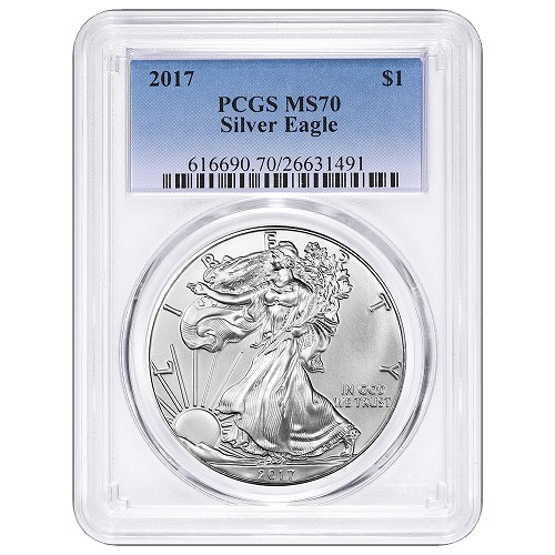 2017 1oz Silver Eagle PCGS MS70 - Blue Label