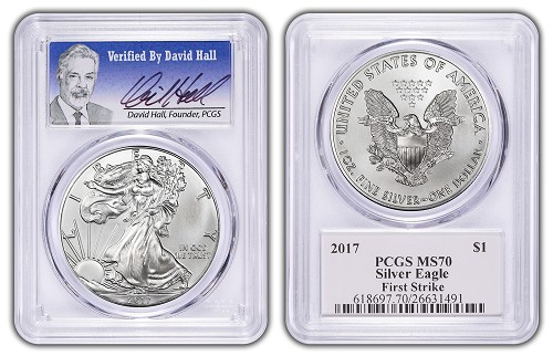 2017 1oz Silver Eagle PCGS MS70 - First Strike -Verified By David Hall