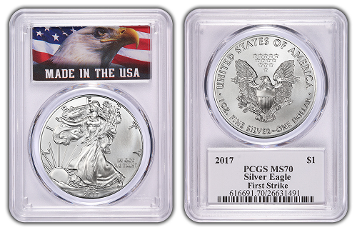 2017 1oz Silver Eagle PCGS MS70 - First Strike - Made In USA Label