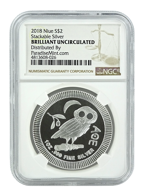 2018 Niue 1oz Silver Owl Of Athena Coin NGC Brilliant Uncirculated - Brown Label