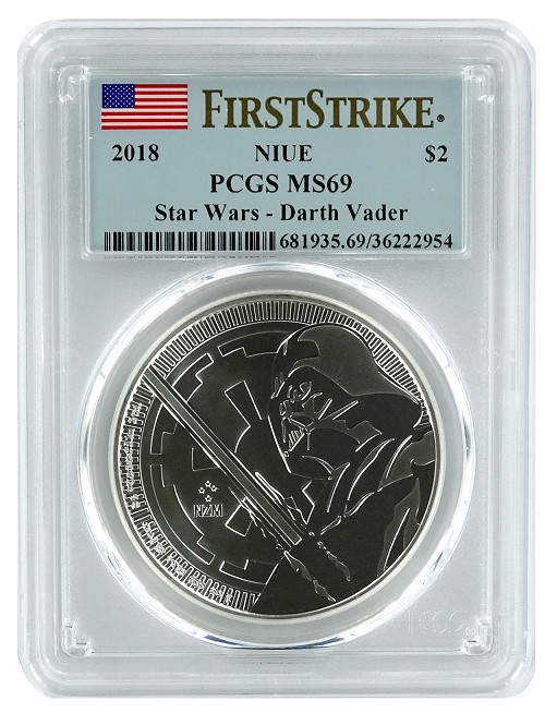2018 Niue 1oz Silver Star Wars Darth Vader Coin PCGS MS69 - First Strike