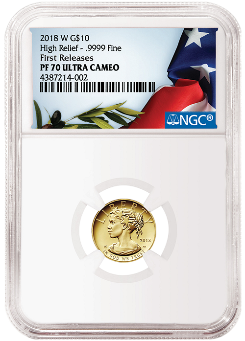 2018 W American Liberty High Relief 1/10th Oz Gold Proof Coin NGC PF70 - First Releases