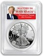 2018 W 1oz Silver Eagle Proof PCGS PR70 DCAM - First Strike - Donald Trump Label