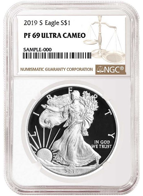 2019 S 1oz Silver Eagle Proof NGC PF69 Ultra Cameo - Brown Label