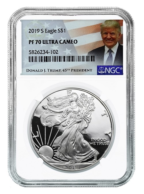 2019 S 1oz Silver Eagle Proof NGC PF70 Ultra Cameo - Donald Trump Label