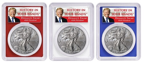 2019 W 1oz Burnsihed Silver Eagle PCGS SP70 - Red White and Blue Frame Set - First Day Issue - Donald Trump Label