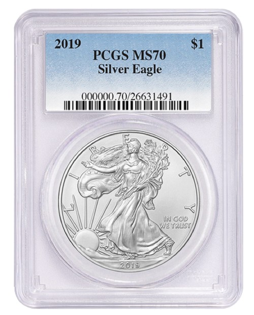 2019 1oz Silver Eagle PCGS MS70 - Blue Label - PRESALE