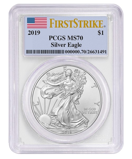 2019 1oz Silver Eagle PCGS MS70 - First Strike Label