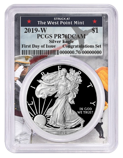 2019 W Congratulations Set Silver Eagle Proof PCGS PR70 DCAM West Point Frame - First Day Of Issue