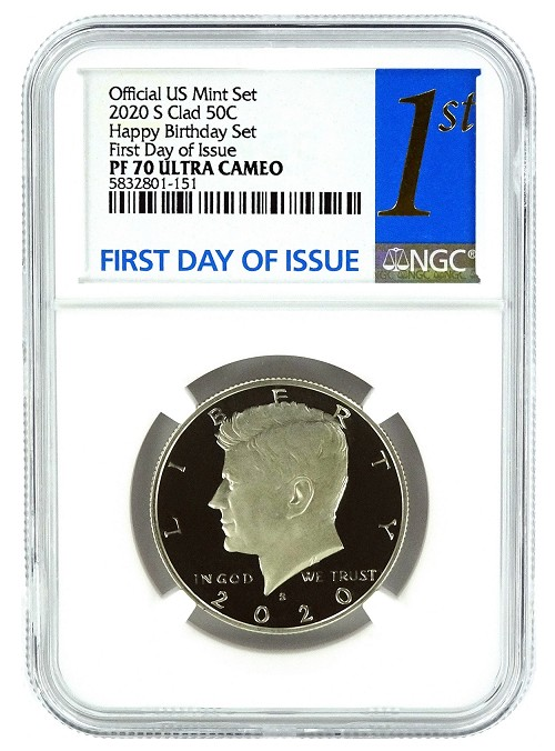2020 S Kennedy Clad Half NGC Happy Birthday Set PF70 UC - First Day Issue Label