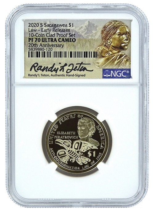2020 S 20th Anniversary Sacagawea Dollar NGC PF70 Ultra Cameo - Early Releases - Randy Teton Hand Signed