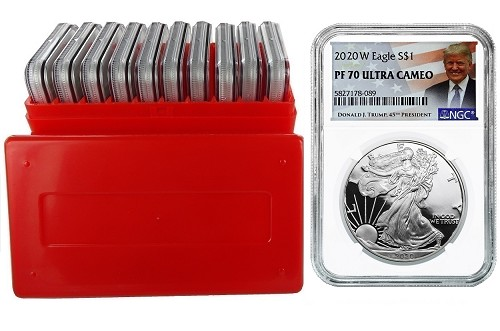 2020 W 1oz Silver Eagle Proof NGC PF70 Ultra Cameo - Donald Trump Label - 10 Pack w/Case - PRESALE