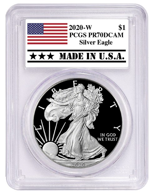 2020 W 1oz Silver Eagle Proof PCGS PR70 DCAM - Made In USA Label