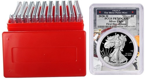 2020 W 1oz Silver Eagle Proof PCGS PR70 DCAM - First Day Issue - West Point Frame - 10 Pack w/Case