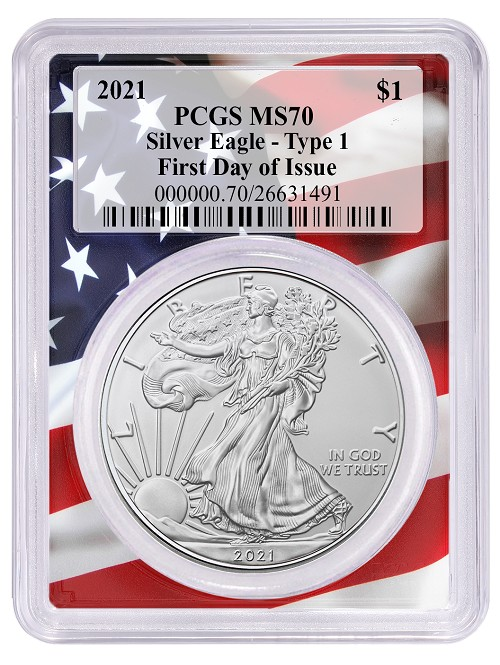 2021 1oz Silver Eagle PCGS MS70 - First Day Issue - Flag Frame