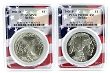 2001  P & D American Buffalo Silver Dollar 2 Coin Set PCGS MS70 PR70 - Flag Frame - Pop 9