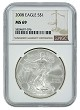 2008 1oz Silver American Eagle NGC MS69 - Brown Label