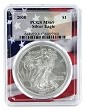2008 1oz Silver Eagle PCGS MS69 - Flag Frame