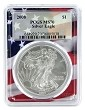 2008 1oz Silver Eagle PCGS MS70 - Flag Frame