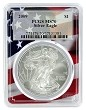 2009 1oz Silver Eagle PCGS MS70 - Flag Frame
