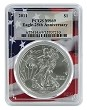 2011 1oz Silver Eagle PCGS MS69 - Flag Frame