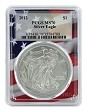 2012 1oz Silver Eagle PCGS MS70 - Flag Frame