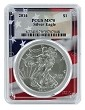 2014 1oz Silver Eagle PCGS MS70 - Flag Frame