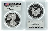 2014 W 1oz Silver Eagle Proof PCGS PR70 DCAM - John Mercanti Signed