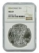 2014 1oz Silver American Eagle NGC MS69 - Brown Label
