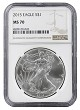 2015 1oz Silver American Eagle NGC MS70 - Brown Label