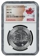 2016 1.25 oz Silver Canadian Bison NGC MS70 - Flag Label