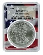 2016 1oz Silver Eagle PCGS MS70 - Flag Frame