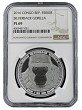 2016 Congo 1oz Silver Silverback Gorilla (Proof Like) Coin NGC PL69 - Brown Label