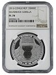 2016 Congo 1oz Silver Silverback Gorilla (Proof Like) Coin NGC PL70 - Brown Label