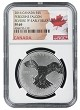 2016 1oz Silver Canadian Peregrine Falcon Reverse Proof - NGC PF69 - Early Releases - Flag Label