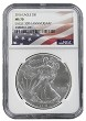 2016 1oz Silver American Eagle NGC MS70 - Flag Label